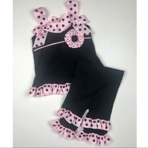 Mud Pie Baby Girl Polka Dot Outfit 12-18 M